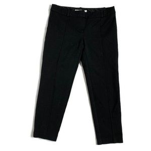 Trina Turk Black Front Seam Pleated Cropped Pants